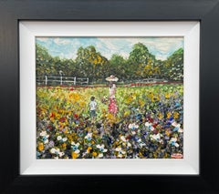 Painting of Mother & Child gathering Wild Flowers by Irish Contemporary Artist