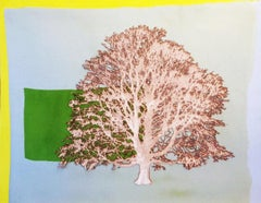 Block Copper Beech - mixed media lasercut paper tree acrylic pins copper