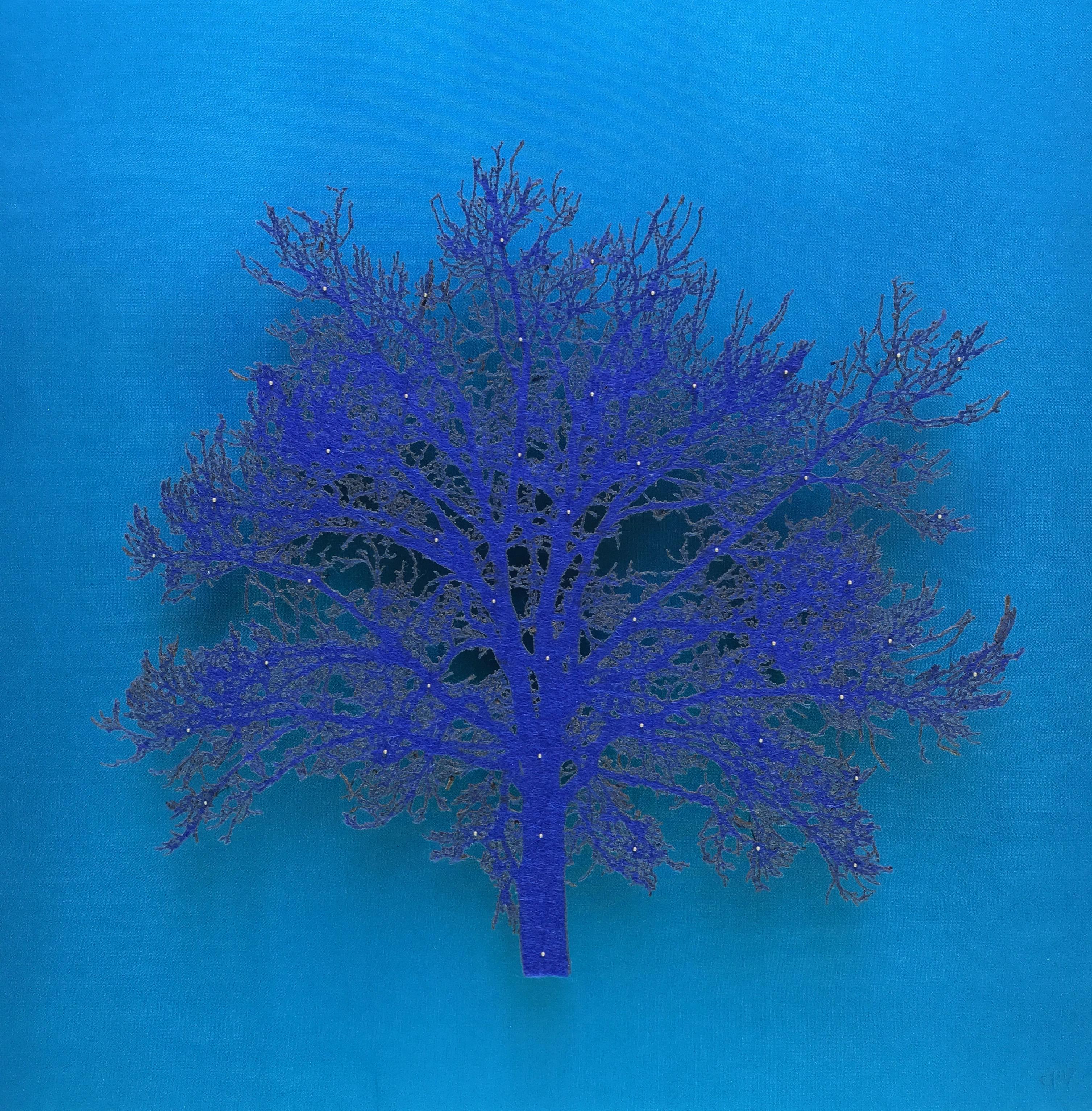 Blue Oak - delicate lasercut image of tree framed