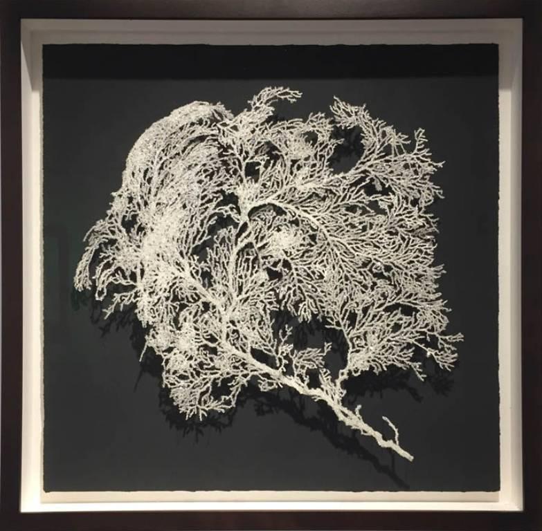 Crystal Carbon- charcoal, swarovski crystals, lasercut paper mixed media framed