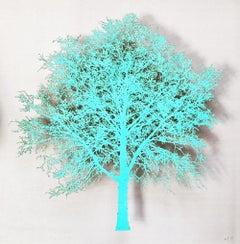 Hot Oak I -  delicate lasercut image of tree framed glazed