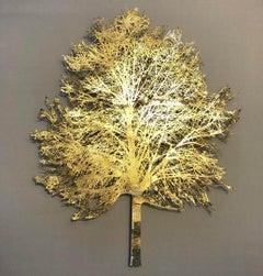 Light Tree - lasercut paper silk mixed media framed