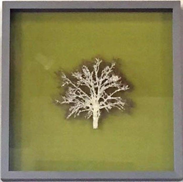 Moss Tree, Crystal Glitter Oak Tree, laser cut relief wall art  - Sculpture by Emma Levine