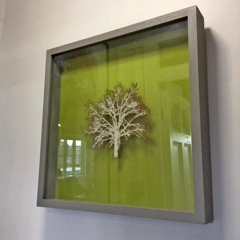 Moss Tree, Crystal Glitter Oak Tree, laser cut relief wall art  - Contemporary Sculpture by Emma Levine