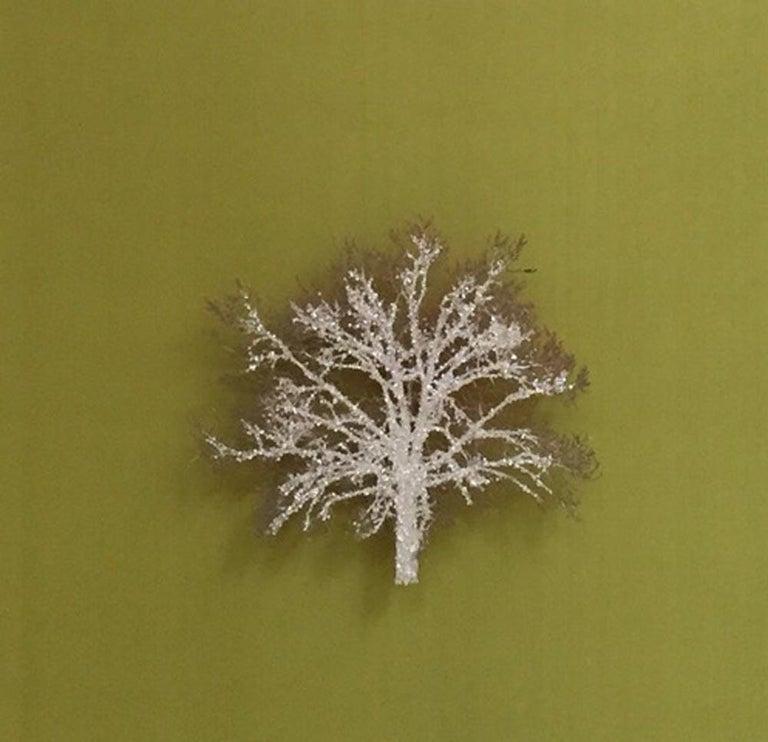 Emma Levine Still-Life Sculpture - Moss Tree, Crystal Glitter Oak Tree, laser cut relief wall art