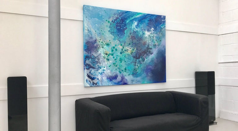 Large Modern Blue Green Purple Abstract Painting by Swedish Contemporary Artist For Sale 1