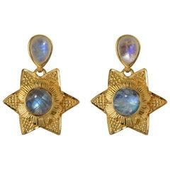 Emma Chapman Moonstone Gold Plate Drop Earrings
