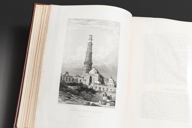 1 Volume. Emma Roberts. Views In India, China, And on the shores of the Red Sea. 2 Volumes Bound Into One, color frontispiece, 2 additional engraved titles, and 6 engraved plates by Prout, Stanfield, Cattermole, Cox etc. after Robert Elliot. Bound