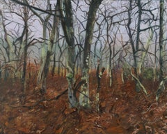 Emma Tapley, Forest, Sag Harbor, impressionist oil on panel landscape painting