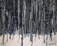 Emma Tapley, Trees, Vail, impressionist landscape oil painting on paper on panel