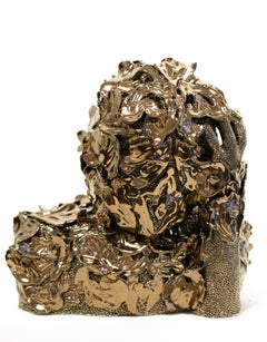 """Swann"", Metallic Floral Motif Ceramic Abstracted Bust Sculpture"