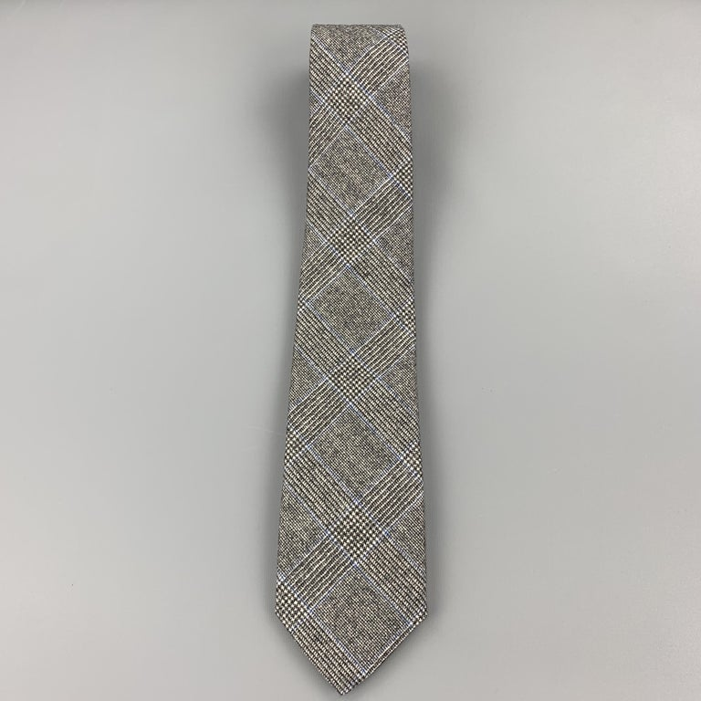 EMMA WILLIS Gray Black & Blue Glenplaid Wool Cashmere Tie In Excellent Condition For Sale In San Francisco, CA