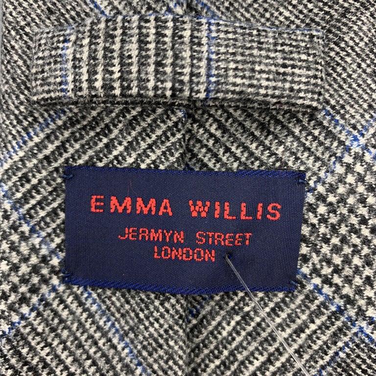 Men's EMMA WILLIS Gray Black & Blue Glenplaid Wool Cashmere Tie For Sale