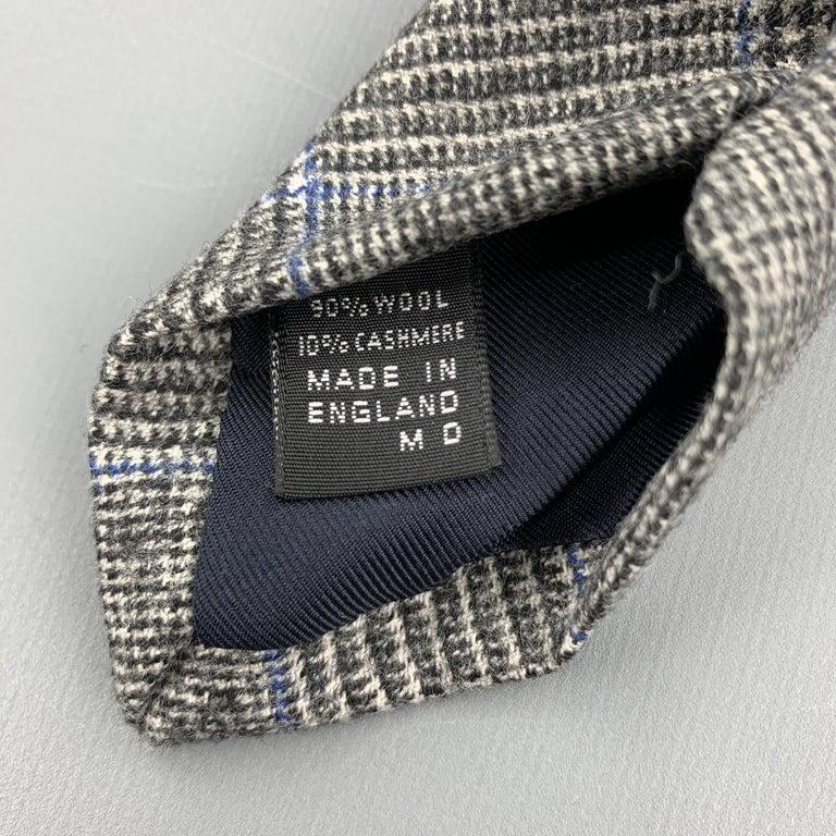 EMMA WILLIS Gray Black & Blue Glenplaid Wool Cashmere Tie For Sale 1