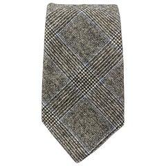 EMMA WILLIS Gray Black & Blue Glenplaid Wool Cashmere Tie