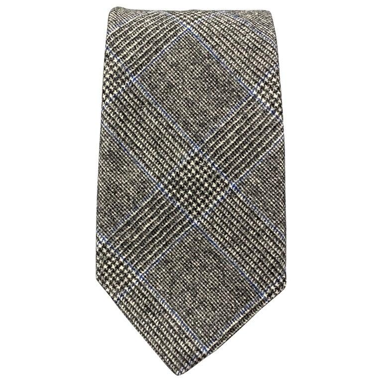 EMMA WILLIS Gray Black & Blue Glenplaid Wool Cashmere Tie For Sale