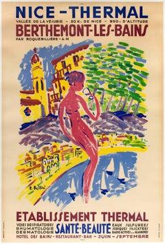 Original Vintage Poster Berthemont Les Bains Nice Thermal Health Spa Resort Alps