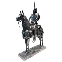 Emmanuel Frémiet, Antique French Bronze of Gallic Chief on Horseback, circa 1880