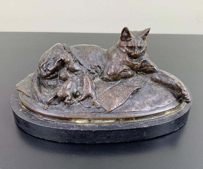 Napoleon III Emmanuel Fremiet Bronze Animal Sculpture of Cat Nursing Kittens For Sale