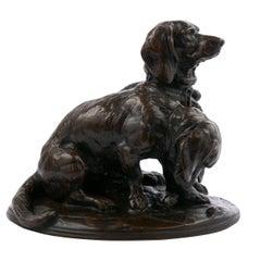 Emmanuel Fremiet French Antique Bronze Sculpture of Two Basset Hound Dogs