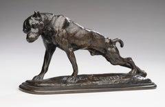 "Bronze Portrait- ""Dog Stretching"" (Dogue s'étirant) Emmanuel Fremiet (1824-1910)"