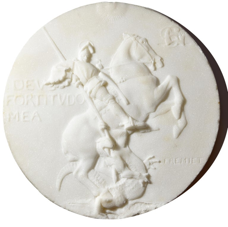 marble medallion of St Georges slaying the dragon - Sculpture by Emmanuel Fremiet