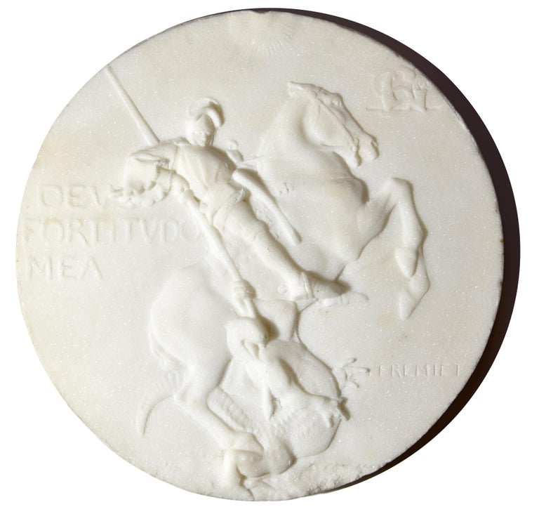 Emmanuel Fremiet Figurative Sculpture - marble medallion of St Georges slaying the dragon