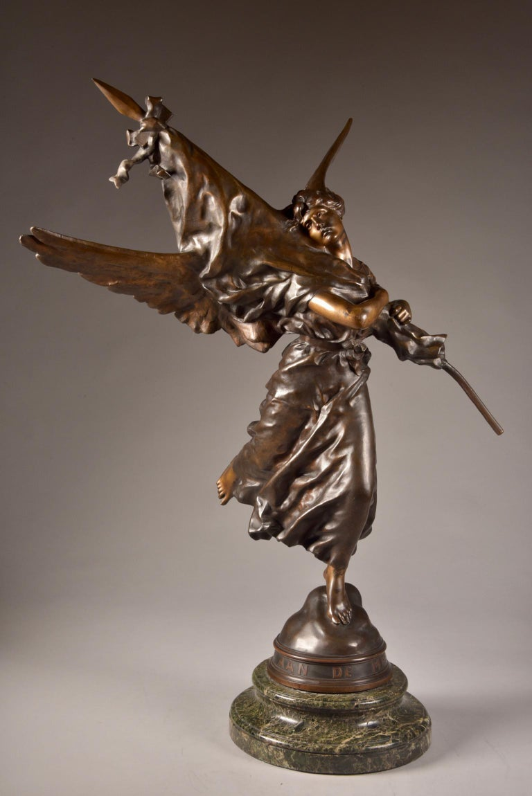 Very impressive /large ( 97cm) statue, E. Hannaux (1885-1934), 'Love of the Flag For Sale 3