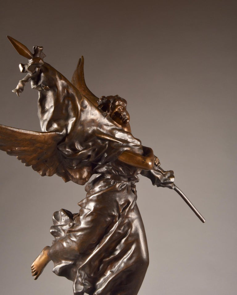 Very impressive /large ( 97cm) statue, E. Hannaux (1885-1934), 'Love of the Flag For Sale 6