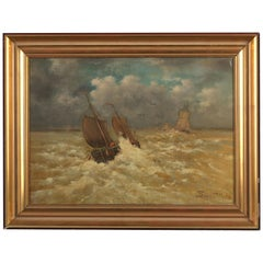 Emmanuel Joseph Lauret, Boat on the Wild Sea, Oil on Canvas, Framed