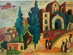 Outside the Synagogue Russian Judaica Oil Painting