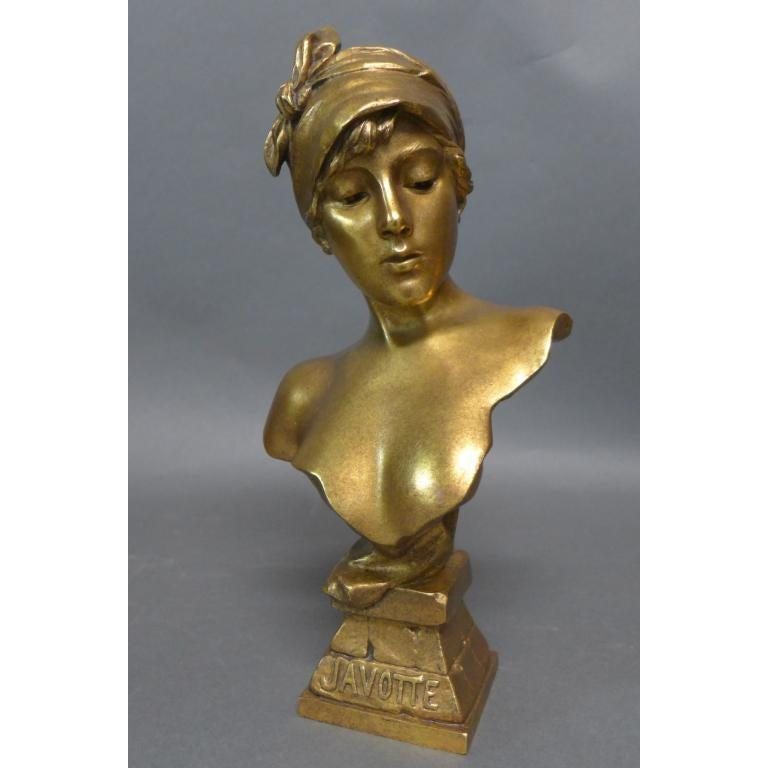 Art Nouveau  Emmanuel Villanis. French (1858-1914) Doré Bronze Bust For Sale