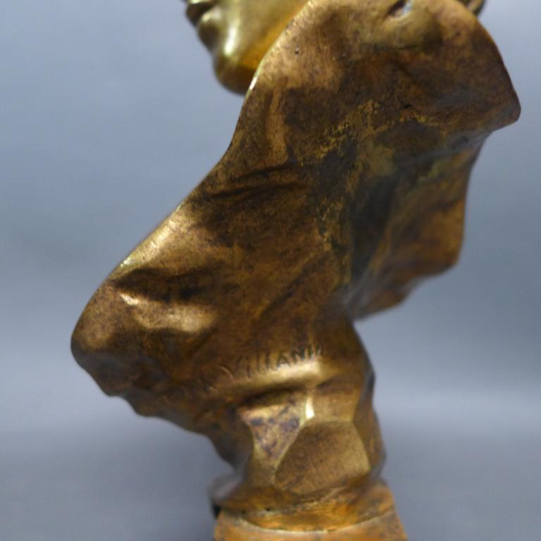 Emmanuel Villanis. French (1858-1914) Doré Bronze Bust For Sale 3