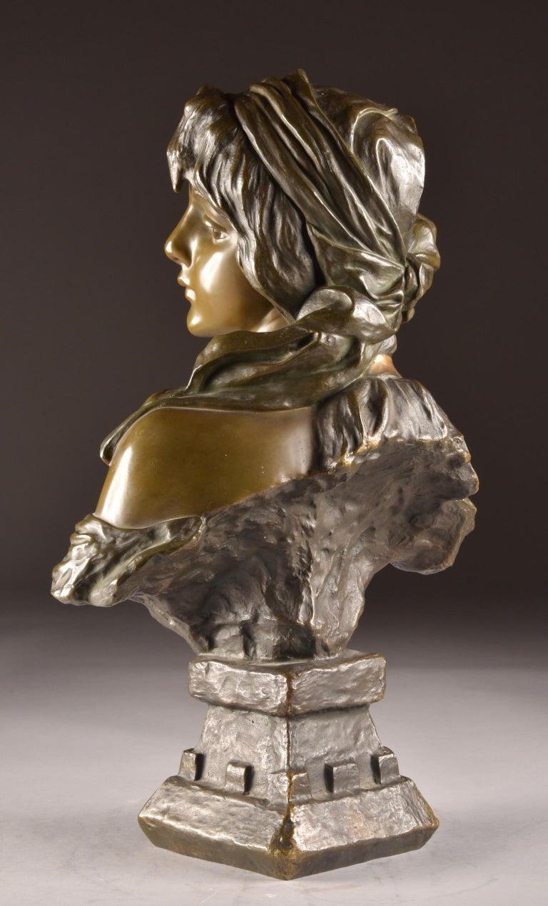 Emmanuel Villanis 'French', Large Female Bust, Signed For Sale 3