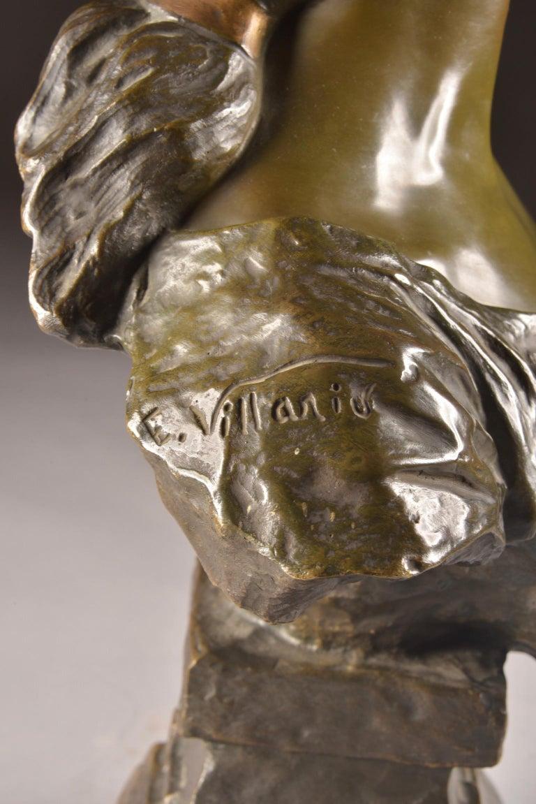 Emmanuel Villanis 'French', Large Female Bust, Signed For Sale 4