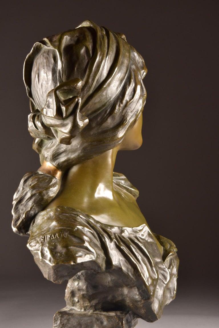 Emmanuel Villanis 'French', Large Female Bust, Signed For Sale 5