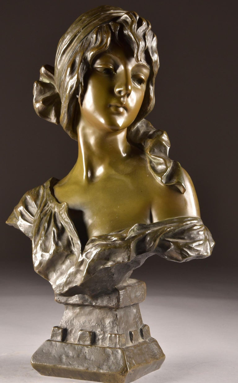 Cold-Painted  Emmanuel Villanis 'French', Large Female Bust, Signed For Sale