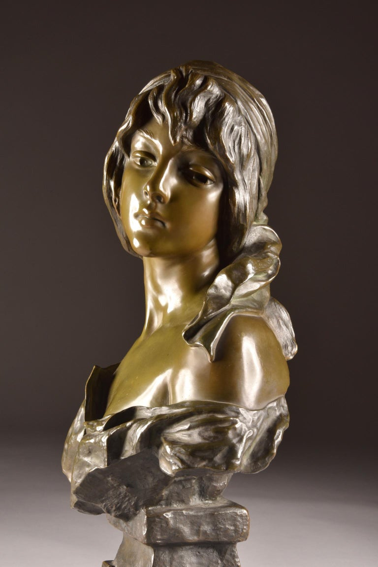 19th Century  Emmanuel Villanis 'French', Large Female Bust, Signed For Sale