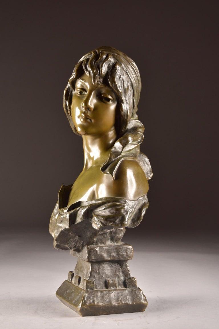 Bronze  Emmanuel Villanis 'French', Large Female Bust, Signed For Sale