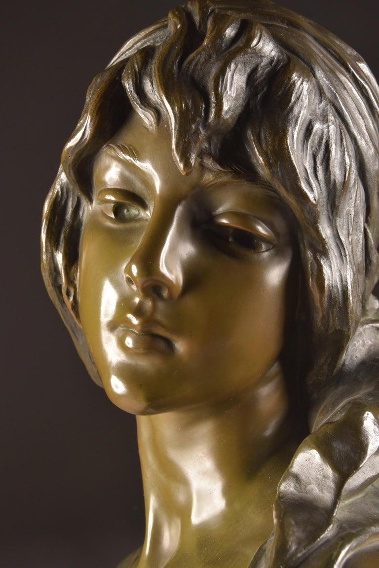 Emmanuel Villanis 'French', Large Female Bust, Signed For Sale 1