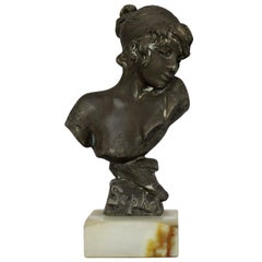 "Emmanuel Villanis French Bronze Bust Sculpture of ""Sapho,"" circa 1890"