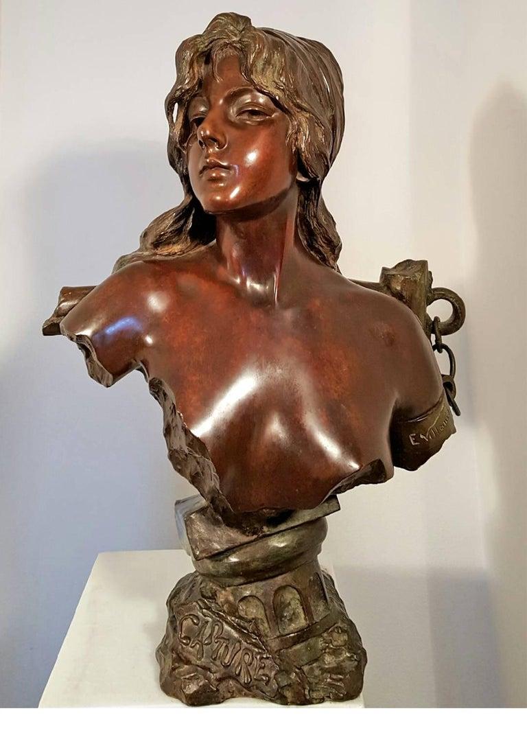 Capture - Slave Girl Bronze - Art Nouveau Sculpture by Emmanuel Villanis