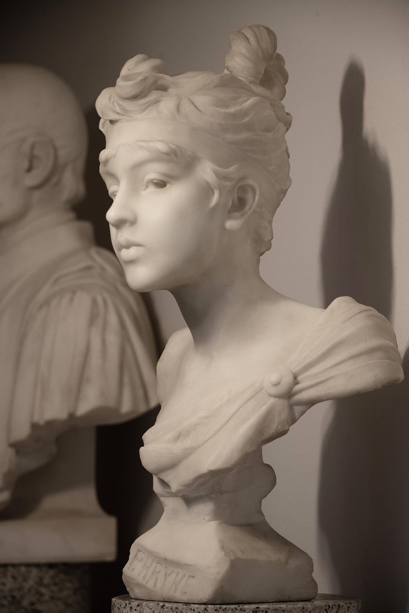 Phryne - Marble Bust of a Beautiful Young Woman  Perfect Silhouette Art Nouveau