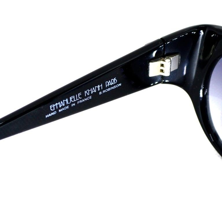 Emmanuelle Khanh 1980s Vintage Black Sunglasses With Gold 3d Squares For Sale 6