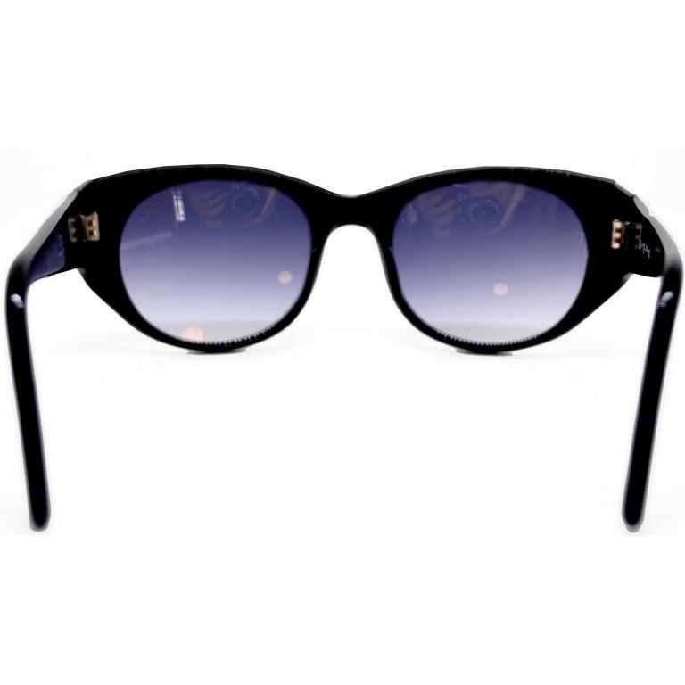 Women's Emmanuelle Khanh 1980s Vintage Black Sunglasses With Gold 3d Squares For Sale