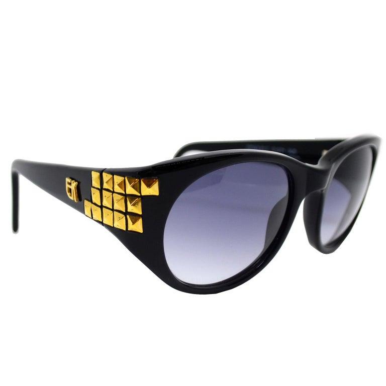 Emmanuelle Khanh 1980s Vintage Black Sunglasses With Gold 3d Squares For Sale 1