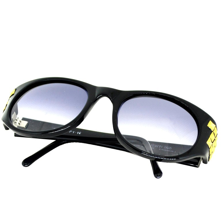 Emmanuelle Khanh 1980s Vintage Black Sunglasses With Gold 3d Squares For Sale 2