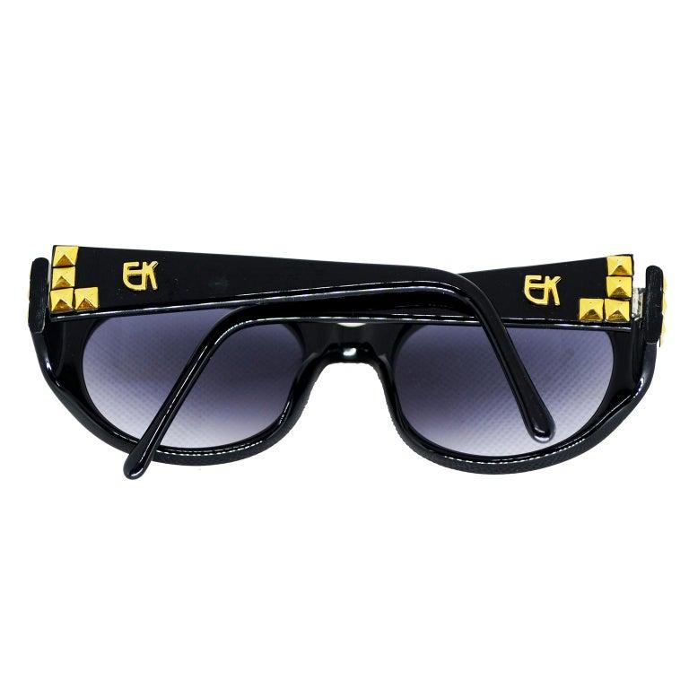 Emmanuelle Khanh 1980s Vintage Black Sunglasses With Gold 3d Squares For Sale 3