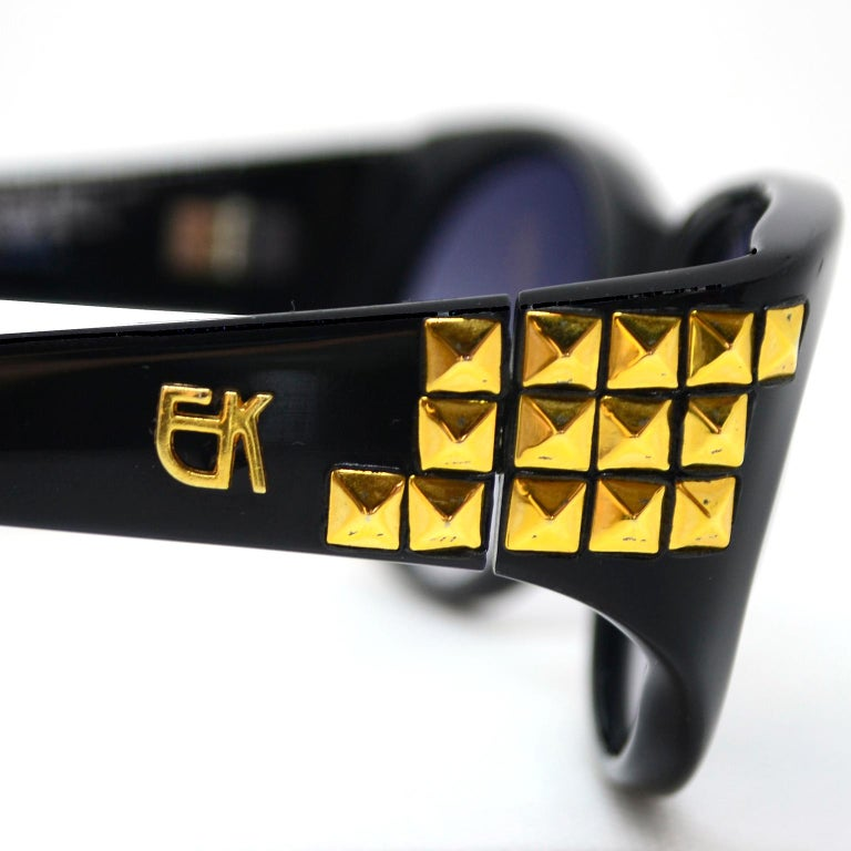 Emmanuelle Khanh 1980s Vintage Black Sunglasses With Gold 3d Squares For Sale 4