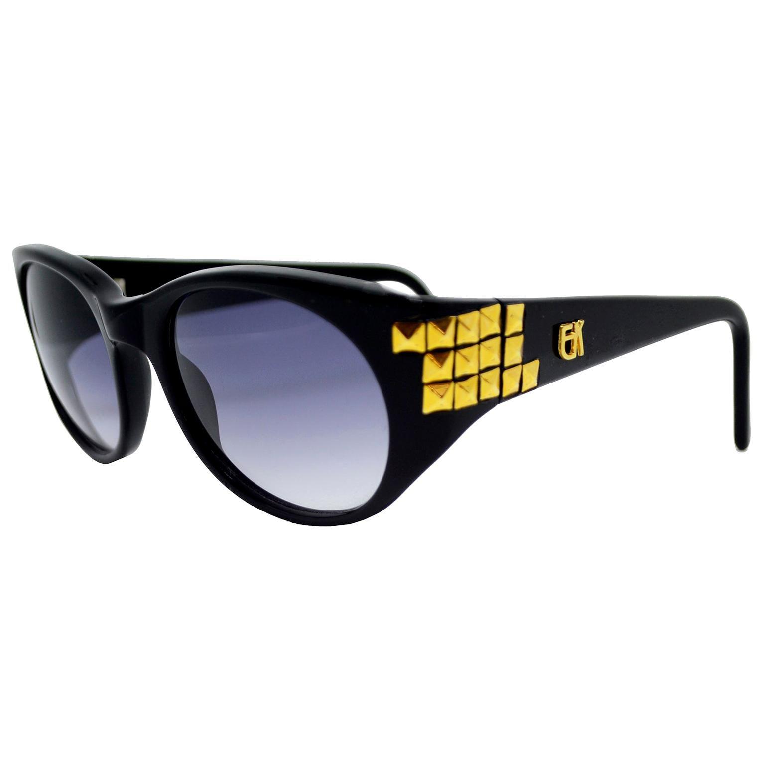 Emmanuelle Khanh 1980s Vintage Black Sunglasses With Gold 3d Squares